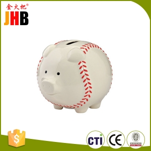 Resin Enesco Baseball Piggy Bank
